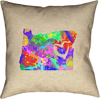 ArtVerse Katelyn Smith 18 x 18 Indoor//Outdoor UV Properties-Waterproof and Mildew Proof Maryland Love Watercolor Pillow