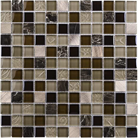 Mto0210 Modern Uniform Squares Black Brown Beige Glass Stone Mosaic Tile Home Kitchen