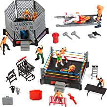 ToyVelt 32-Piece Wrestling Toys for Kids - WWE Wrestler Warriors Toys with Ring & Realistic Accessories - Fun Miniature Fighting Action Figures Includes 2 Rings - Great Gift for Boys and Girls