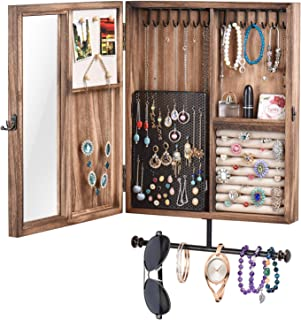 Keebofly Wall Mounted Jewelry Organizer With Rustic Wood Large Space Jewelry Cabinet Holder for Necklaces, Earrings, Bracelets, Ring Holder, and Accessories (Carbonized Black )