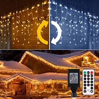 ALOVECO Icicle Lights Outdoor, 440 LED Christmas Icicle Lights Color Changing Warm to Cool White, 39 ft 11 Modes, Memory, ...