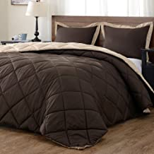 downluxe Lightweight Solid Comforter Set (King) with 2 Pillow Shams - 3-Piece Set - Brown and Tan - Down Alternative Reversible Comforter