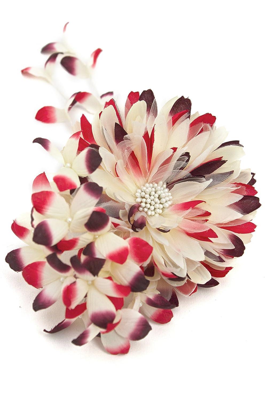 (ソウビエン) 髪飾り 花 フラワー 赤 菊 ビーズ コサージュ 浴衣