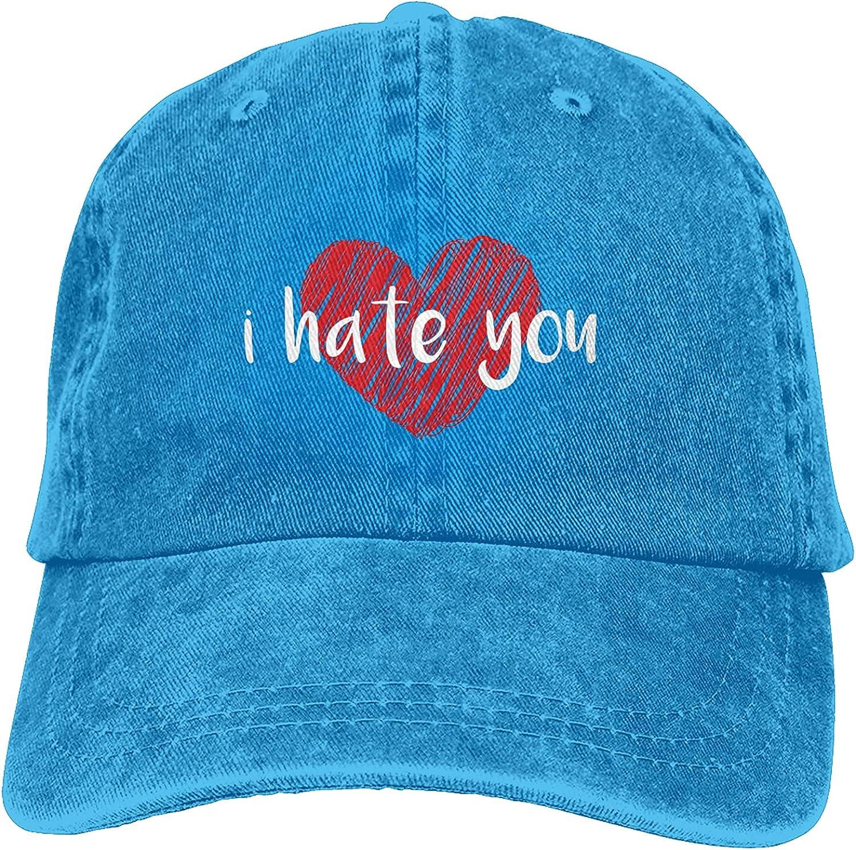 BGWORZD I Hate You Heart Hat,Adjustable Baseball Cap Washed Cotton Cowboy Hat Truck Hat Unisex
