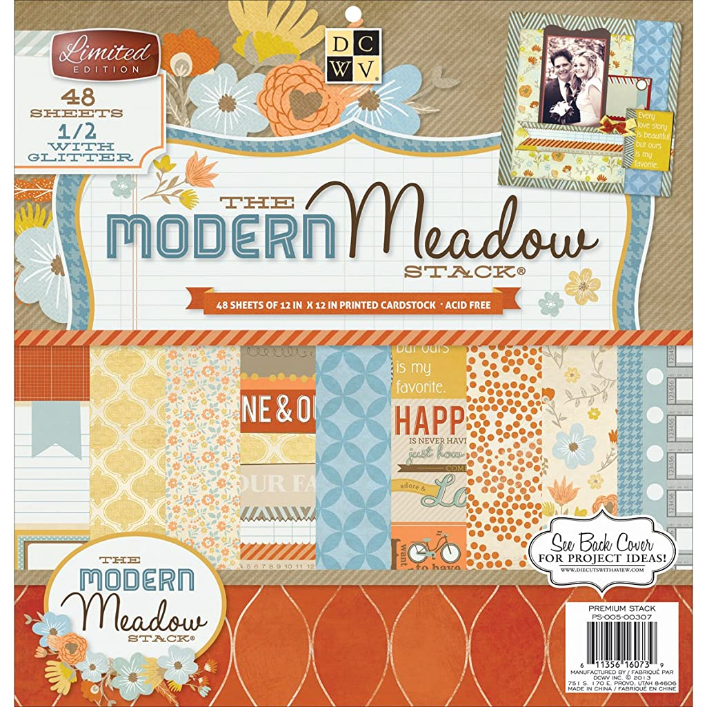 Diecuts With A View Paper Stack, 12 by 12-Inch, Modern Meadow, 48-Pack