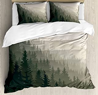 Ambesonne Forest Duvet Cover Set King Size, Northern Parts of The World with Coniferous Trees Scandinavian Woodland, Decorative 3 Piece Bedding Set with 2 Pillow Shams, Green Cream