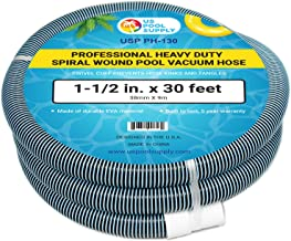 """U.S. Pool Supply 1-1/2"""" x 30 Foot Professional Heavy Duty Spiral Wound Swimming Pool Vacuum Hose with Swivel Cuff"""