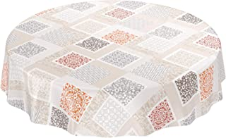 ideal para jard/ín ovalado liso Mantel de hule dise/ño de madera lavable color beige tama/ño a elegir rectangular Beautex redondo
