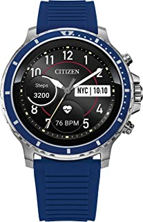 Citizen CZ Smart HR Heart Rate Smartwatch 46mm Blue Silicone Stainless Steel Watch, Powered by Google Wear OS