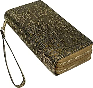 Wristlet Wallet Double Zipper Purse Long Clutch Travel Hand Purse for Cards, Cash, Cell Phone, Passport (15 Options)