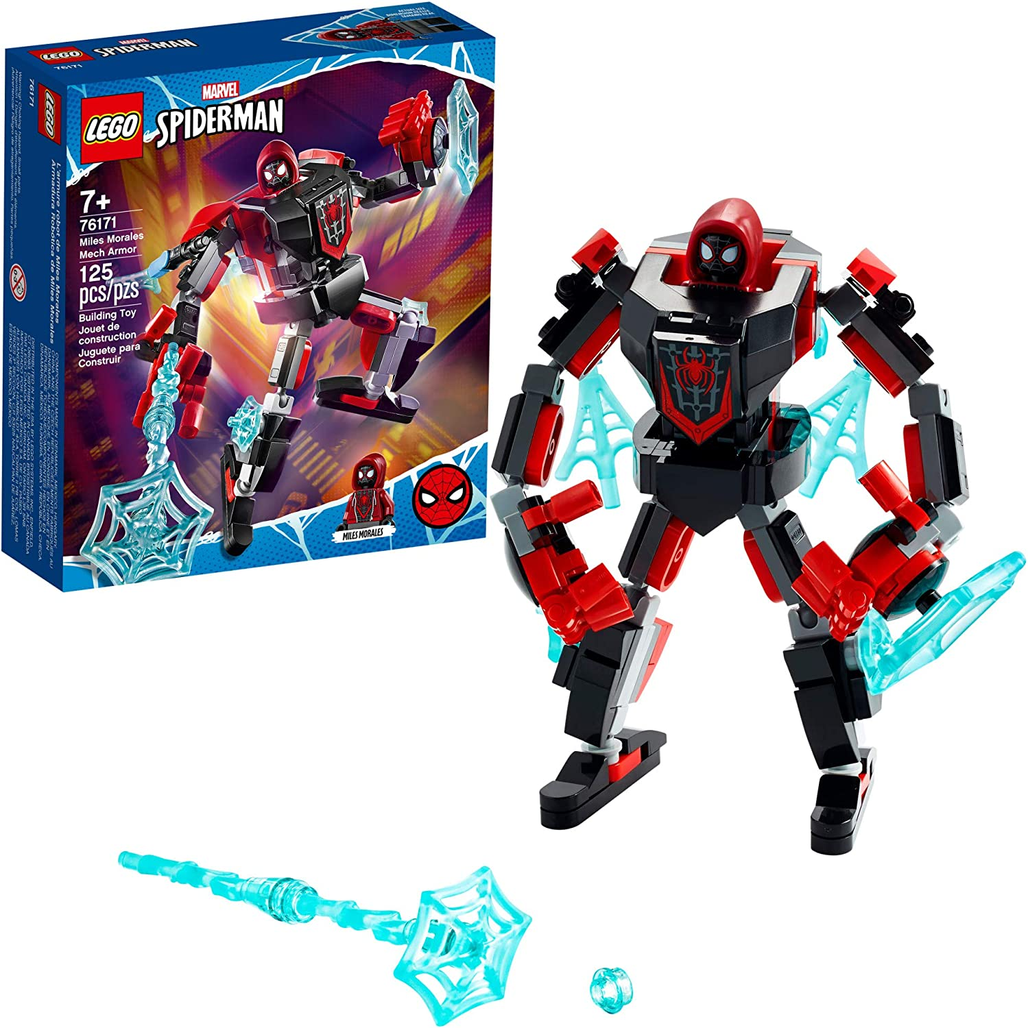 LEGO Marvel Spider-Man Miles Morales Mech Armor 76171 Collectible Construction Toy, New 2021 (125 Pieces)