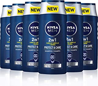 NIVEA MEN Protect and Care Champú Hidratante 2 en 1 para Cabello y Barba - 6 Unidades de 250 ml Total: 1500 ml