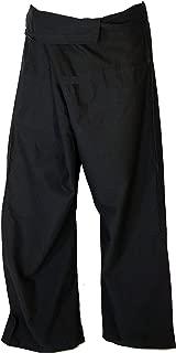 Pantalón de Pescador Tailandés de Algodón Fuerte, Pantalón Wrap, Pantalón de Yoga, Talla Uni, Azul, Tamaño:One Size, 3/4 Fisherman Hosen