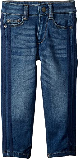 Chloe Mid Wash Skinny with Navy Double Side Stripe in Moody Blue (Big Kids)