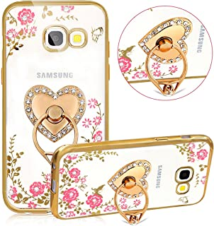 (Heart Ring: Gold Bumper) - For Samsung Galaxy J7 V Case, Galaxy J7 Sky Pro Case, Galaxy J7 Prime /J7 Perx Case, PHEZEN Pink Flower Butterfly Bling Crystal Diamond Crystal Clear Back TPU Bumper Case with Ring Stand, Gold