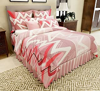 Home Candy 144 TC Criss Cross Lines Cotton Bedsheet with 2 Pillow Covers - Multicolour