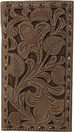 Floral Pierced Embossed with Buckstitch Rodeo Wallet