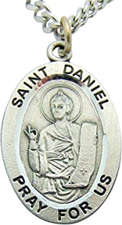 St Daniel Solid Pewter One Inch Saint Medal with Stainless Steel Chain