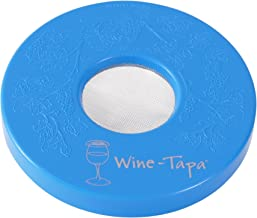 Wine Tapa Wine Glass Cover:  Keep Bugs Out, Washable, Plastic, Outdoor, Drink Lid Marker for Glasses, Cans, Cups, Stemless Drinkware (Sky Blue)