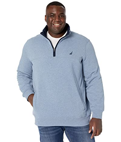 Nautica Big & Tall Big Tall 1/4 Zip Fleece (Deep Anchor Heather) Men