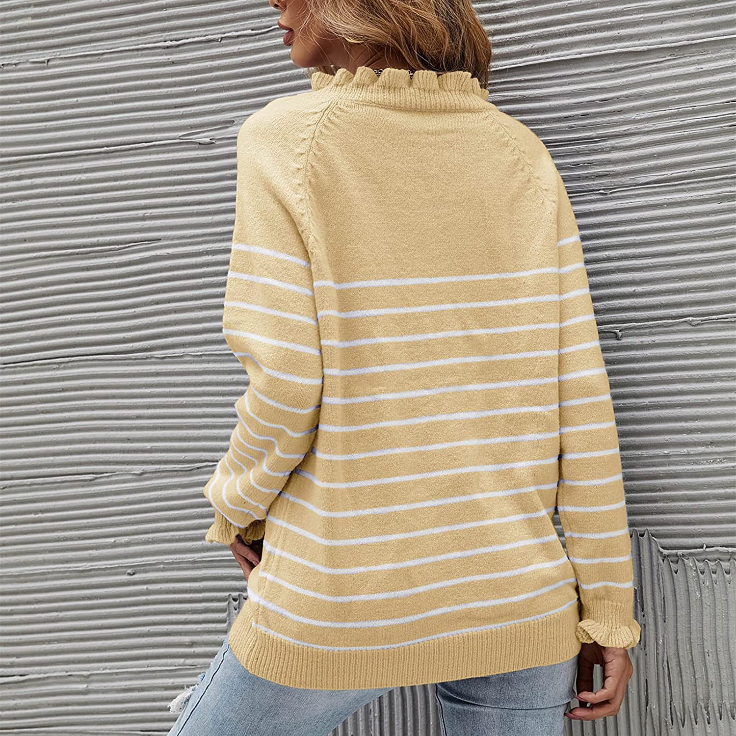 YfiDSJFGJ Oversized Sweaters Womens Long Sleeve Casual Off Shoulder Button Down Sweater,Ruffle Knit Pullover Tops