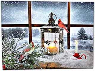 BANBERRY DESIGNS Christmas Candle Lantern & Cardinal Birds LED Canvas Print - Snowy Winter Pine Trees Window Scene - Lighted Picture - Wall Art with Battery Operated Led Lights