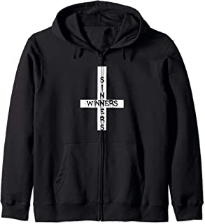 Sinners Winners Inverted Cross Black Metal Satanic Halloween Zip Hoodie