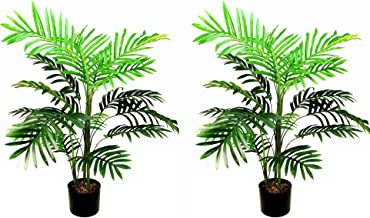 Admired By Nature Plastic Pot 3 Feet Artificial Paradise Palm Tree Plant, Twin Pack, 2 Count
