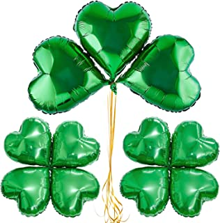 Whaline Creative Shamrock Balloons 20 PCS St Patricks Balloons Green Aluminum Foil Party Balloons with 60 Pieces Dot glue for Irish Day Celebration Decoration