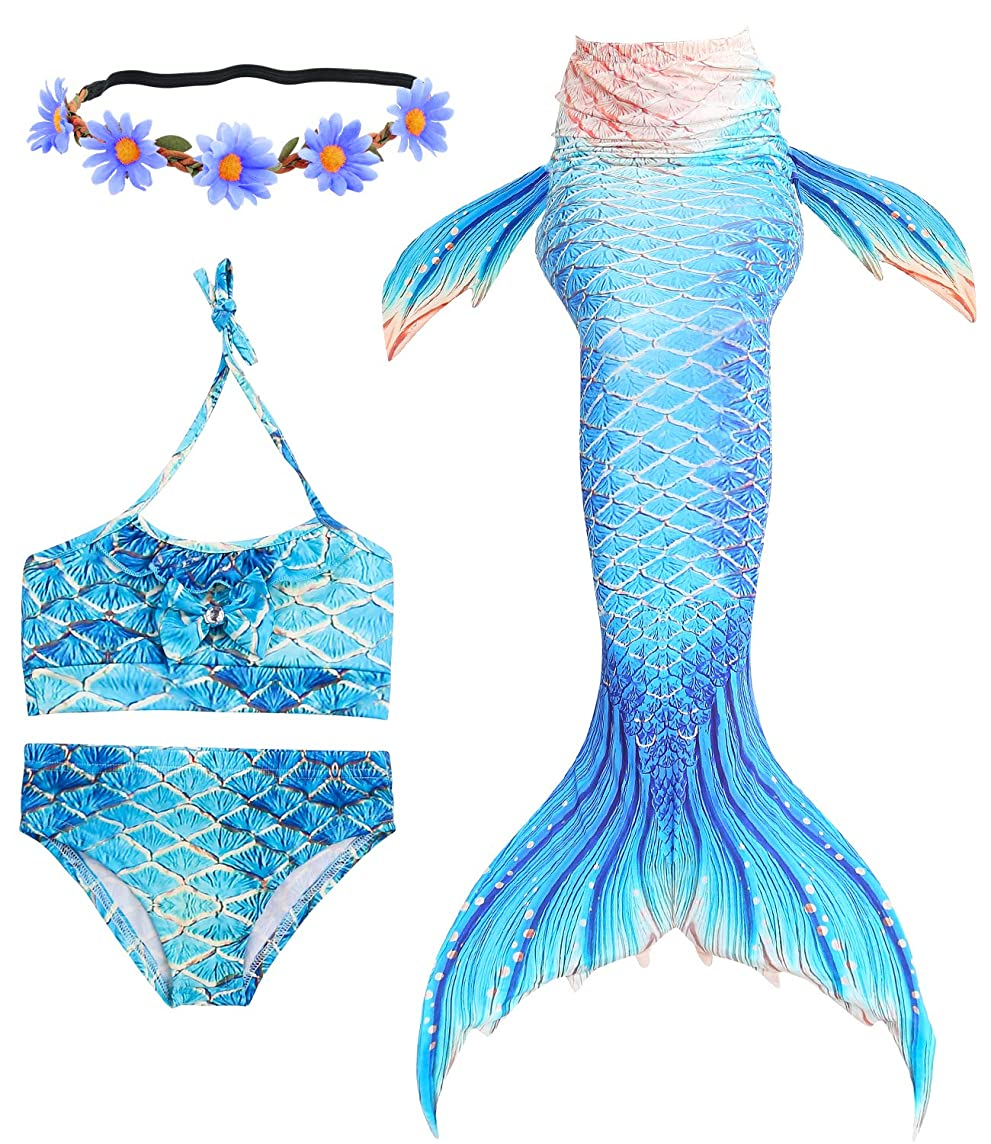 Newland 3 Pcs Girls Swimsuit Mermaid Tails for Swimming Princess Bikini Bathing Suit Set for 3-12Y