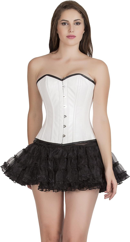 White Rice Leather Waist Training Bustier Overbust Black Tutu Skirt Corset Dress