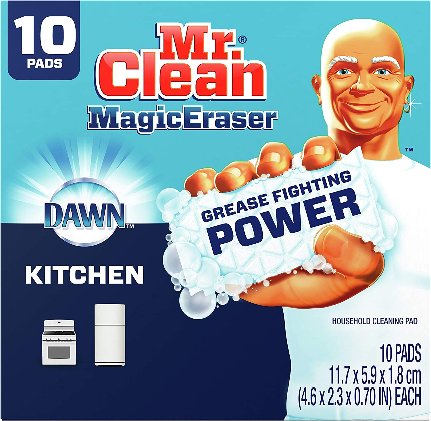 Mr. Clean Magic Eraser Kitchen and Oven Cleaner with Dawn, Cleaning Pads with Durafoam, 10 Count : Everything Else