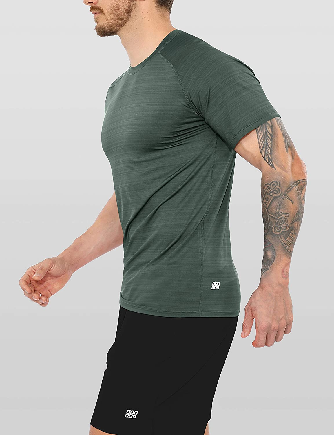 ODODOS Men's Fitted Athletic T-Shirt Breathable Short Sleeve Raglan Running Workout Studio Tee Shirts
