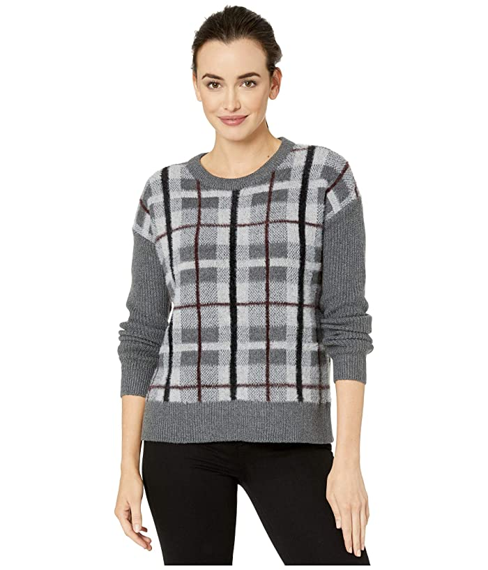 Vince Camuto  Long Sleeve Plaid Short Eyelash Sweater (Medium Heather Grey) Womens Sweater