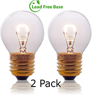 Oven Light Bulbs – 40 Watt Appliance Replacement Bulbs for Oven, Stove, Refrigerator, Microwave. Incandescent - High Temp G45 E26/E27 Socket. Medium Brass Lead-Free Base - 400 Lumens - Clear. 2 Pack