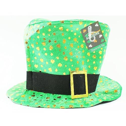 Large Green Shamrock Clover Irish Top Hat St Patricks Day Leprechaun Fancy Dress