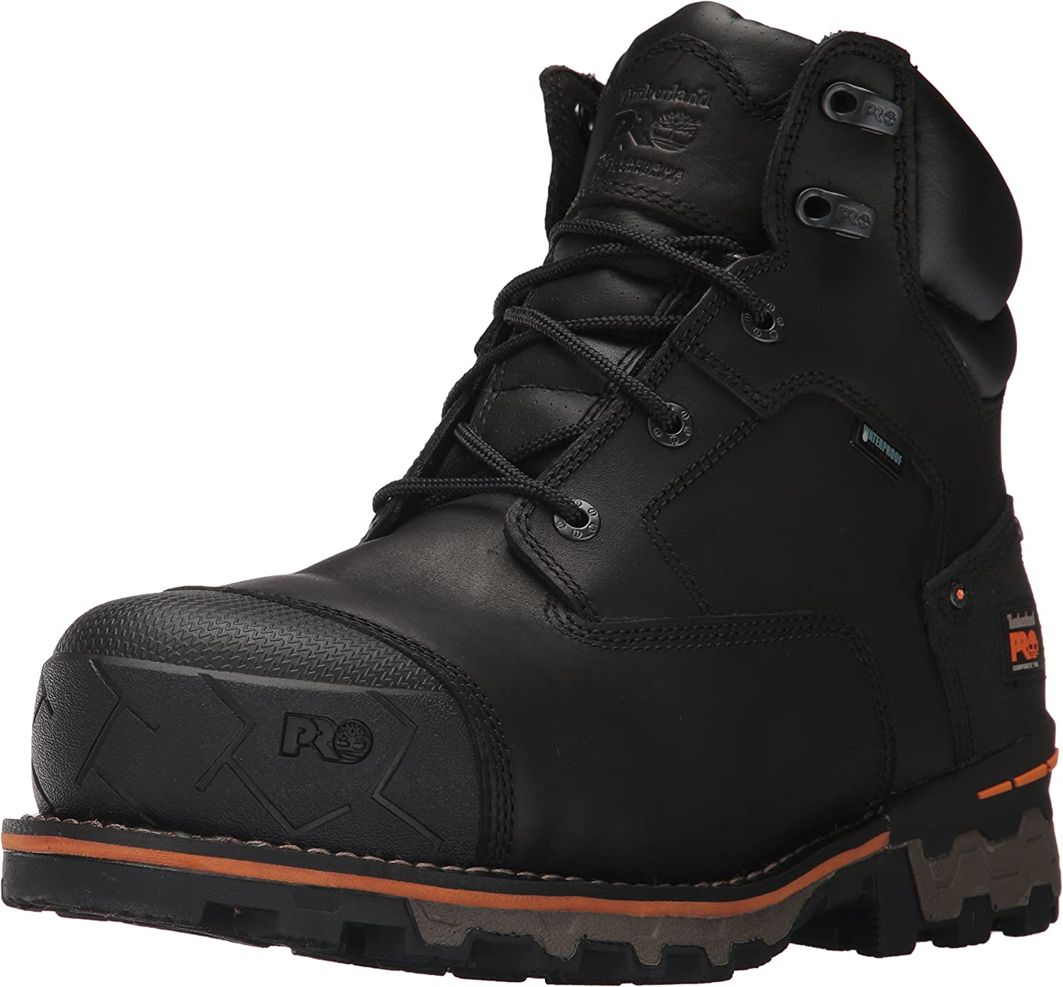 Timberland PRO Men's Boondock 6 Inch Composite Safety Toe Waterproof Industrial Work Boot, Black Full Grain Leather, 13
