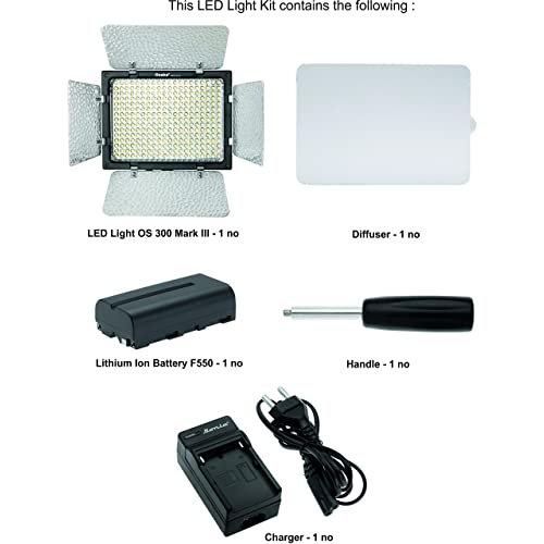 Osaka LED Video Light OS 300 Mark III with Battery and Charger for Nikon Canon Sony Panasonic DSLR and Video Cameras