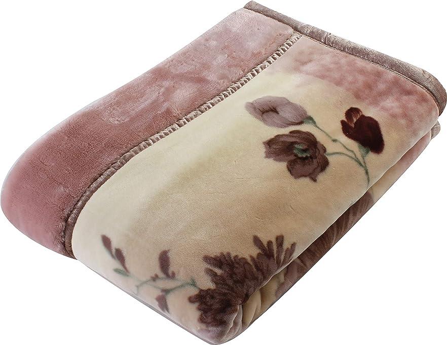 単に下るトラフ西川(Nishikawa) 毛布 ピンク シングル 140×200㎝ 日本製 2枚合わせ 洗える アクリル 衿付き 高級感 2K2479