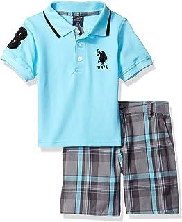 US Polo Assn Little Boys Navy Blue Polo 2pc Plaid Short Set