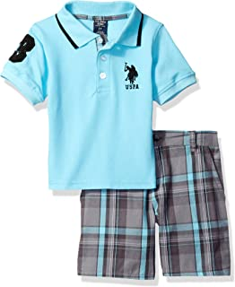 Boys' Little Embellished Pique Polo Shirt and Plaid Short