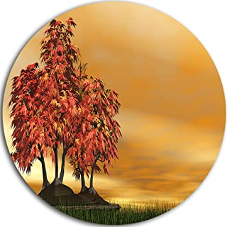 Designart Bonsai Landscape Photography Metal Artwork - Disc of 23 inch, 23'' H x 23'' W x 1'' D 1P, Red