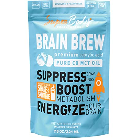 Premium C8 MCT Oil Travel Size Brain Brew (15 Svgs) 100% Caprylic Acid. Single Serve No Spill Packets. Perfect Way to Have a Focused and Clear Mind! Fat Burning Energy Without The Crash. Best MCT Oil