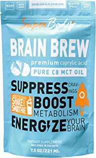 Premium C8 MCT Oil Travel Size Brain Brew (15 Svgs) 100% Caprylic Acid. Single Serve No Spill Packets. Perfect Way to Have...