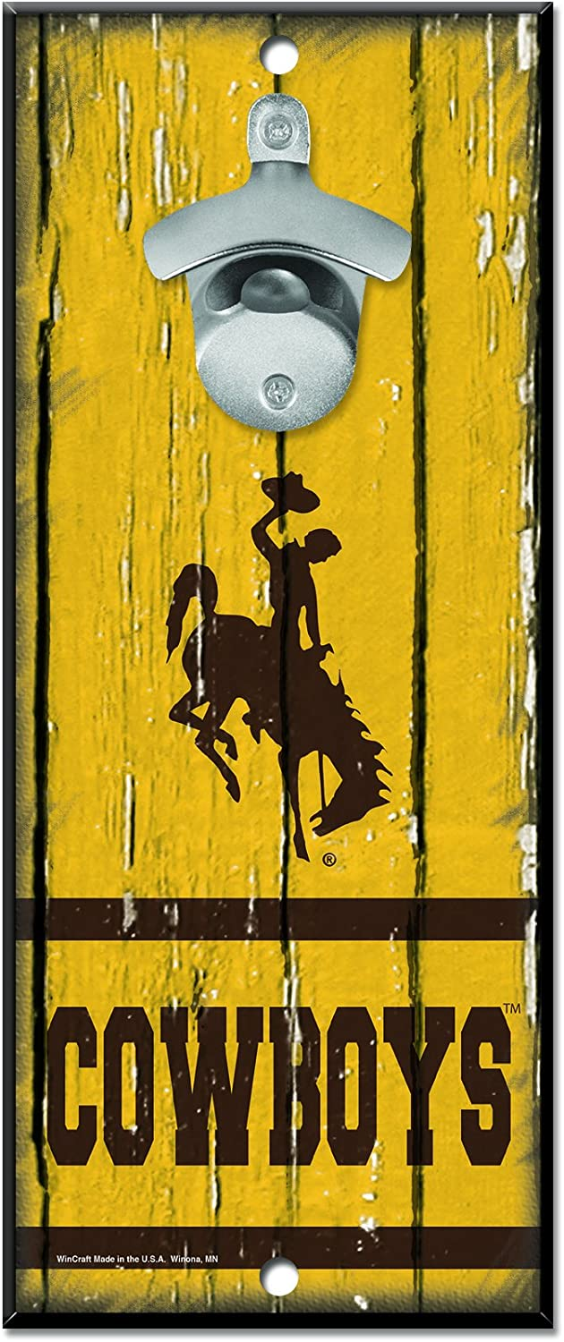 NCAA Wyoming Cowboys Wood Bottle Opener Sign, 5  x 11 , Multicolor