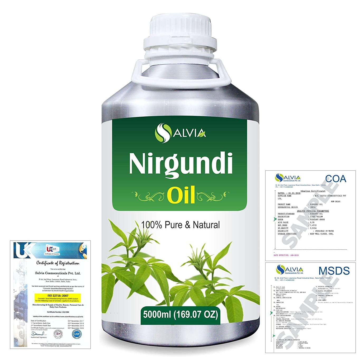 ナイロンアスリート精度Nirgundi (Vitex negundo) 100% Natural Pure Essential Oil 5000ml/169fl.oz.