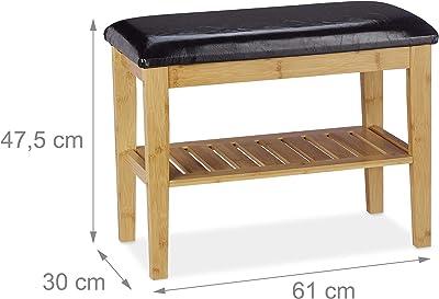 Relaxdays Banc à Chaussures avec siège, Bambou, rembourré, Meuble à Souliers, HLP: 47,5x61x30 cm, Nature/Noir, polyuréthane (PU), 1