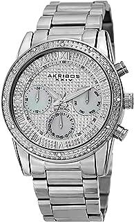 Akribos XXIV Designer Men's Watch AK1040 – Diamond Accented Stainless Steel Wristwatch