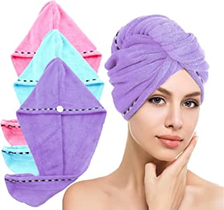 LayYun Hair Towel Wrap for Women, 3 Pcs Microfiber Super Absorbent Quick Dry Hair Turban for Drying Curly, Long & Thick Ha...