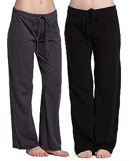 Womens casual stretch cotton pajama pants simple lounge pants charcoal